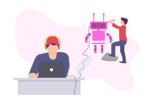 Man using a chatbot
